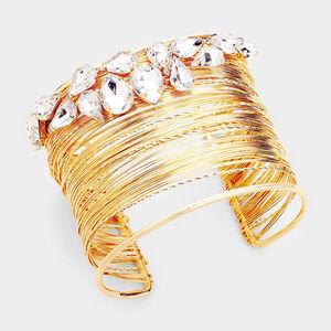 olorful Crystal Embellished Cuff Bracelet